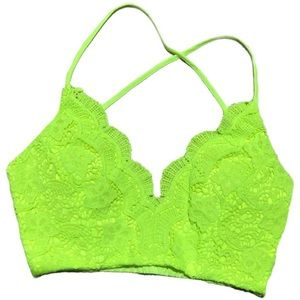Tops - NWT! Boutique Bright Lime Green Crochet Crop Top